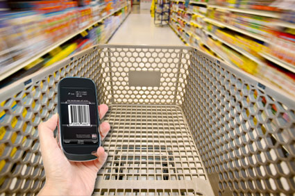 Shopping cart with cell phone