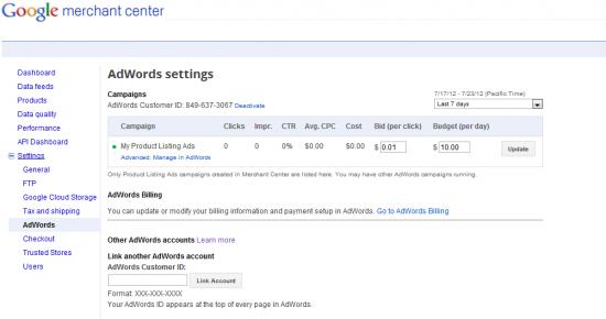 Change Your PLA Bid In Google Merchant Center