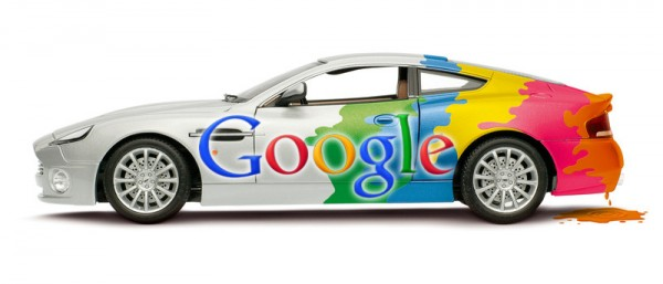 An image of a car painted in Google colors