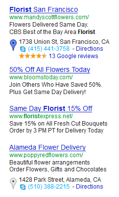 A screenshot of a Google AdWords results for the term