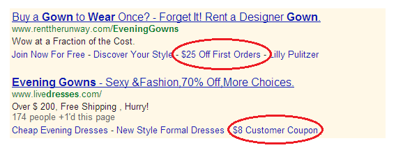A screenshot illustrating how Sitelinks Extensions can be used to advertise promotions