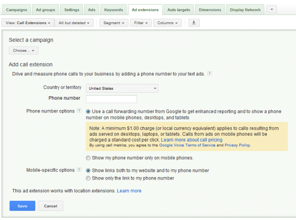 A screenshot showing how to set up a Google forwarding number