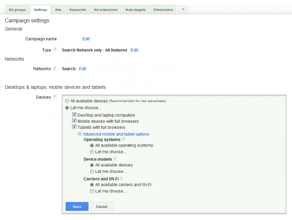 A screenshot showing how to control device options for Google call extensions
