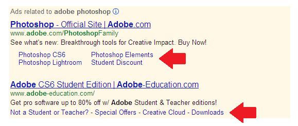 A screenshot of a Google AdWords Sitelinks Extension
