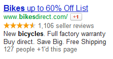 An example of a Google AdWords Social Extension