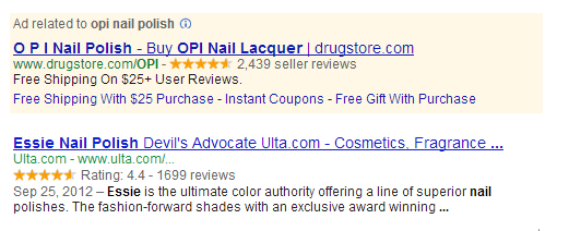 A screenshot of Seller Rating Extensions on a Google SERP