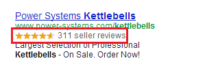 An example of a Seller Rating Extension in a paid ad