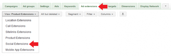 A screenshot of the first step in setting up Google AdWords Social Extensions