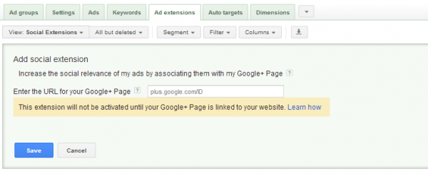 A screenshot of the second step in setting up Google AdWords Social Extensions