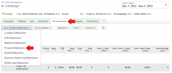 A screenshot showing how to set up Google AdWords Product Extensions