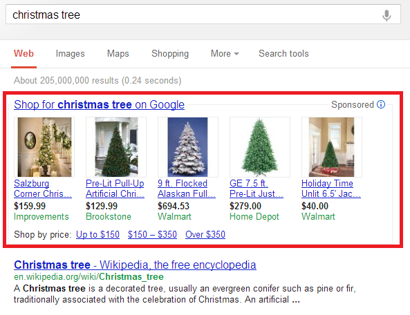 An example of Google Product Listing Ads