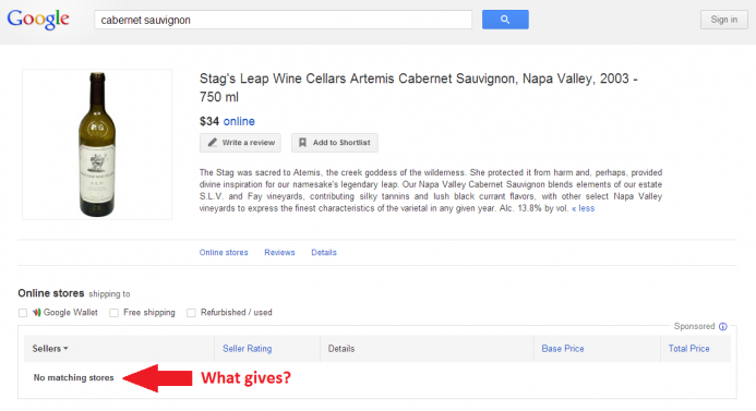 A screenshot of a Google Shopping comparison page for wine.