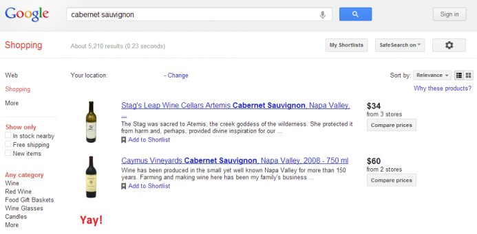 A screenshot of a Google Shopping result page for a wine query.A screenshot of a Google Shopping result page for a wine query.
