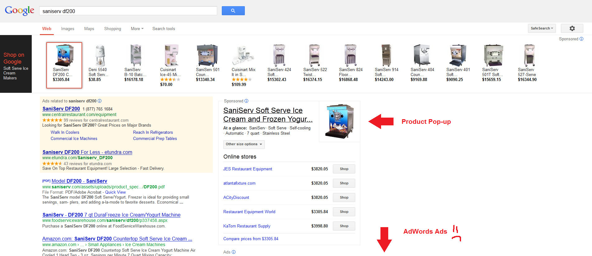 new google serp layout product listing ad format vertical rail