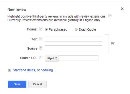adwords review extensions enables ppc advertisers to add third party reviews to any text ad