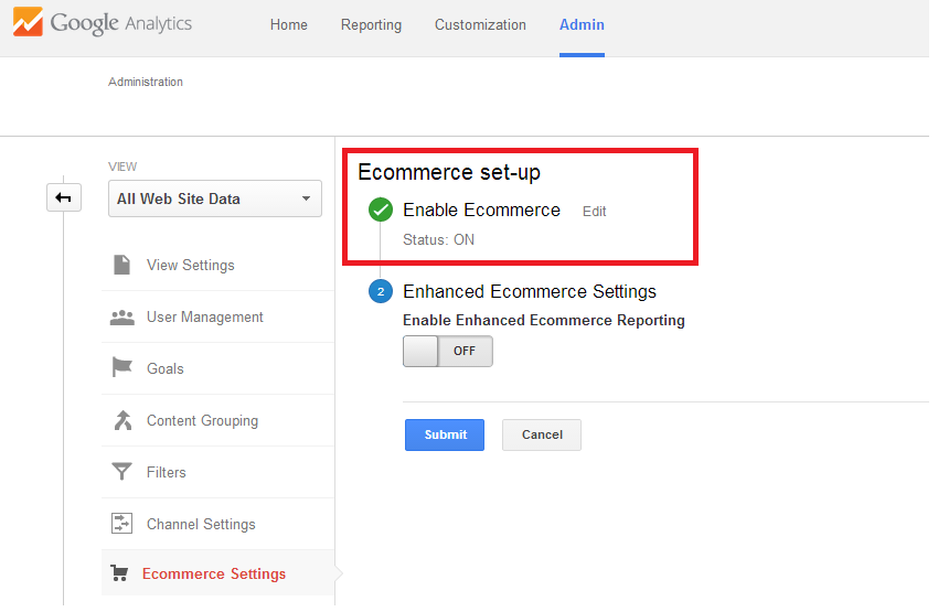 Google Analytics Ecommerce Tracking - Step 2