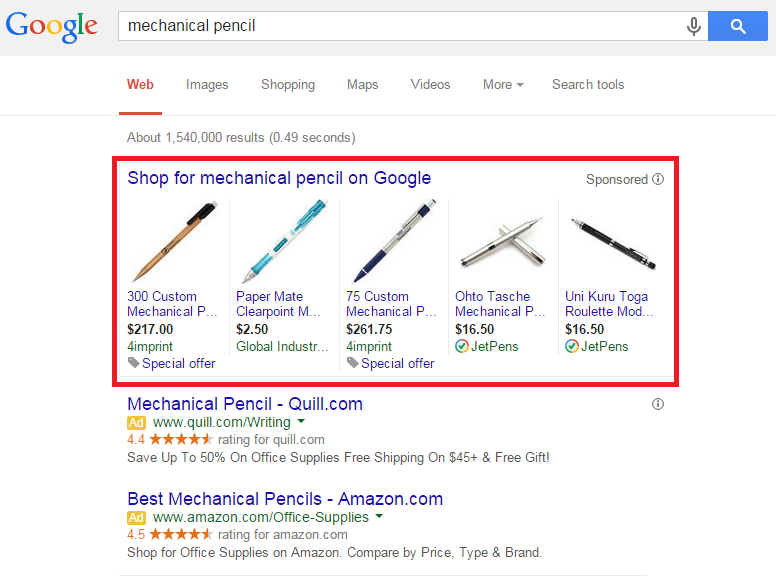 Example of Shopping Campaigns