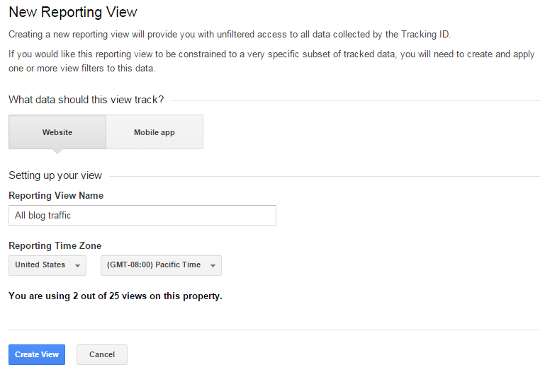 How to set up a filter in Google Analytics for subdomains - first add a new view in the correct UA property