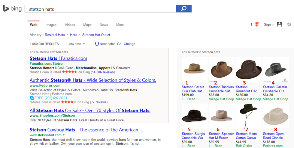 Bing PLA Search Results