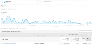 Advanced filter showing matched search query as second dimension on product performance report