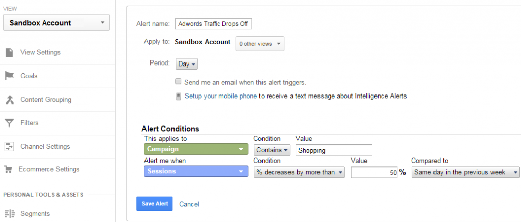 How to create custom alerts in Google Analytics