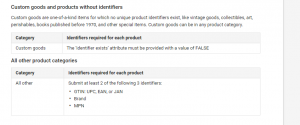 Custom goods and products without identifiers - Google Shopping