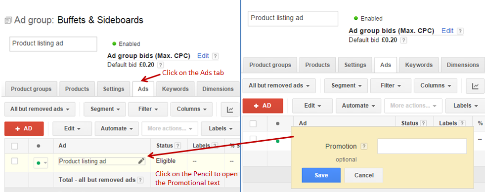 Adding Google Promotional Text in Campaign Setup
