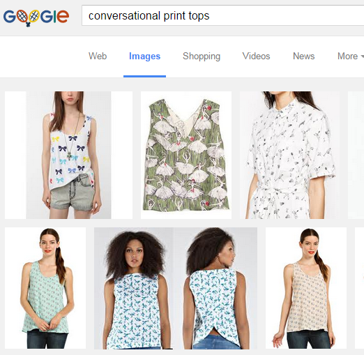 Google Search of Conversational Print Tops