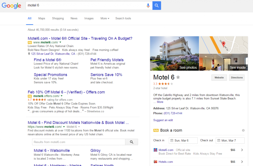 Google knowledge panel with ads