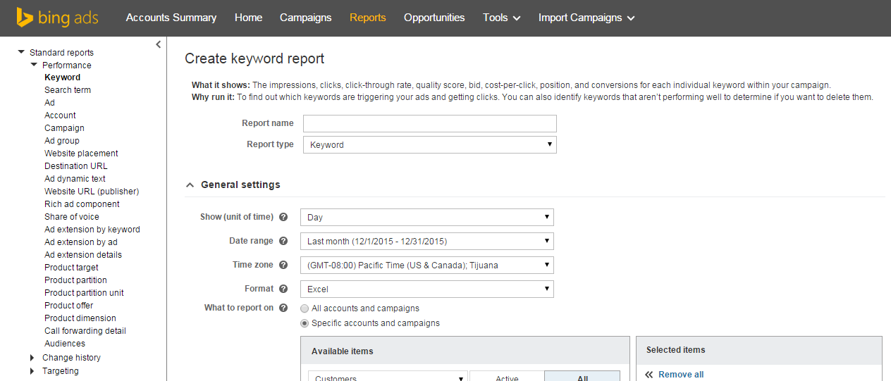 how to run a historical quality score report in bing ads
