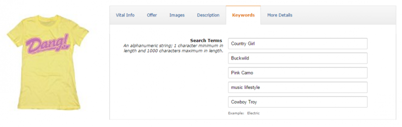 Example of poor Amazon Search Terms