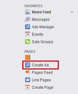 """Create Ad"" Option in the Gray Left Sidebar"