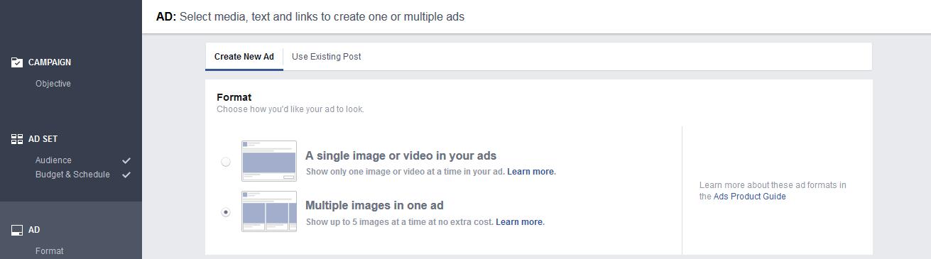 Create Ad Creation Step 1