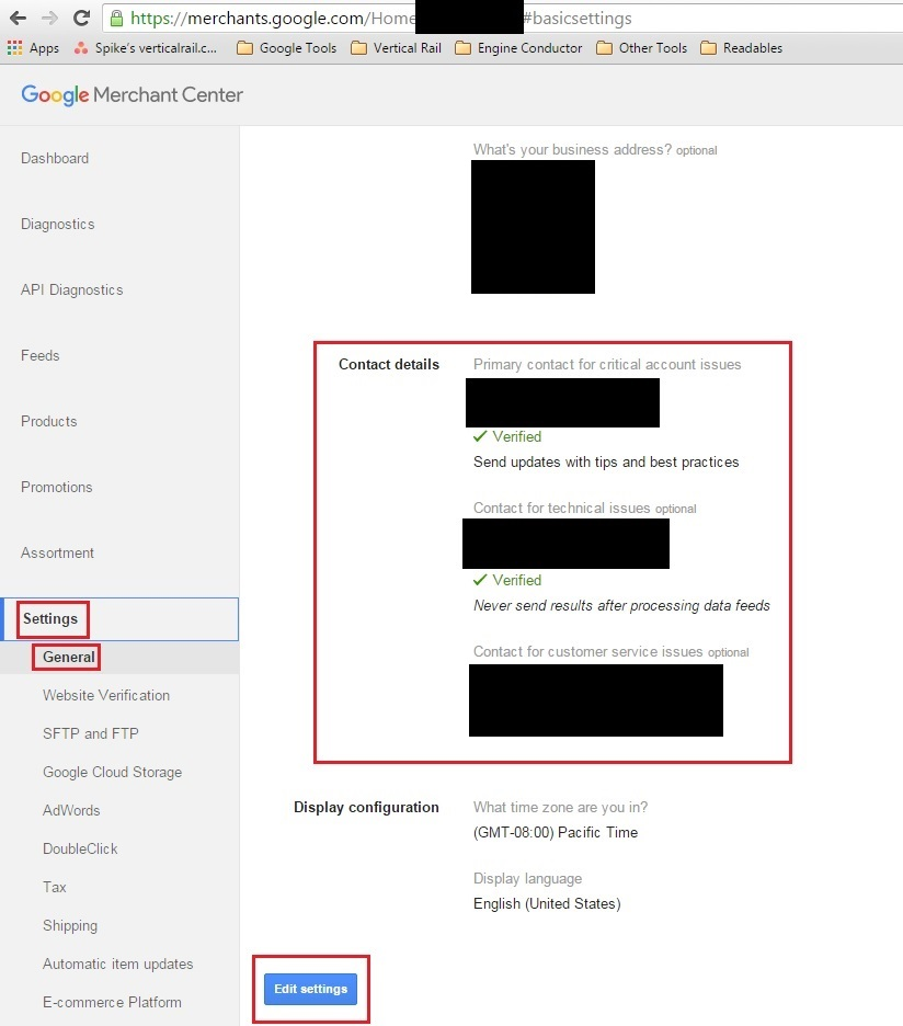 The Contact Settings and Preferences in Google Merchant Center