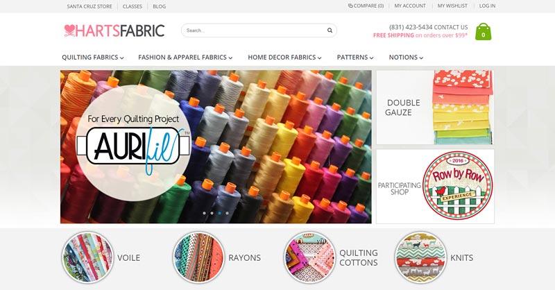Harts Fabric website