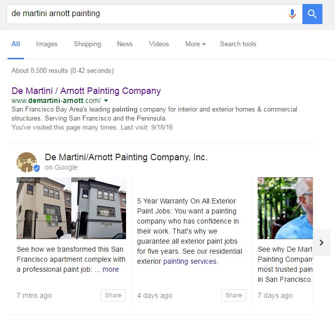 Example of Google Posts Local Business Cards