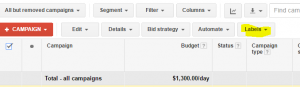 adwords labels, organize campaigns