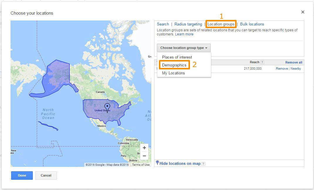Choose location group type: demographics