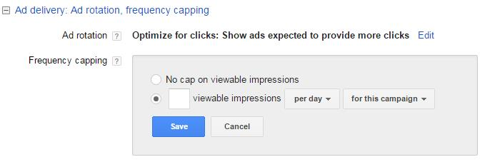 Frequency Capping Screenshot of AdWords Interface