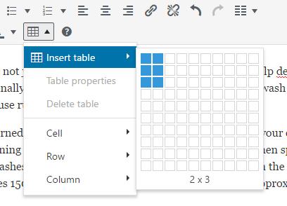 Insert table columns
