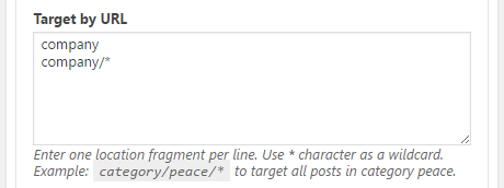 Widget context Target by URL