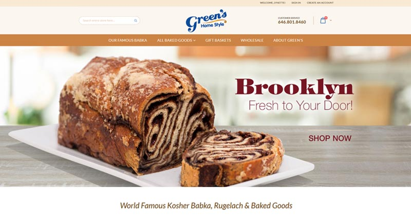 Green's Home Style Bakery website
