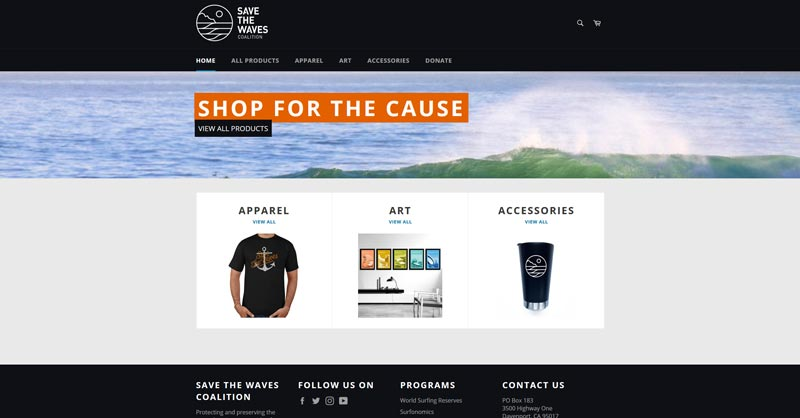 Save The Waves Shopify website