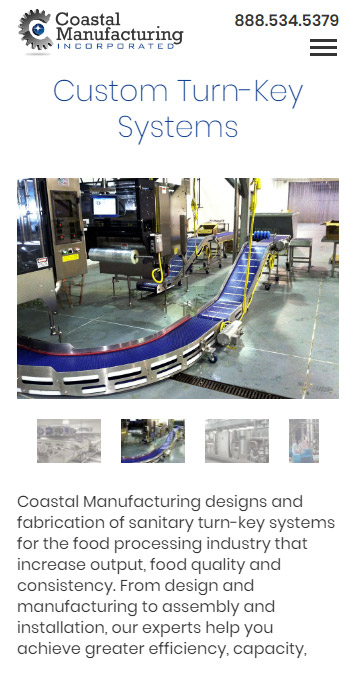 Coastal Manufacturing mobile responsive website