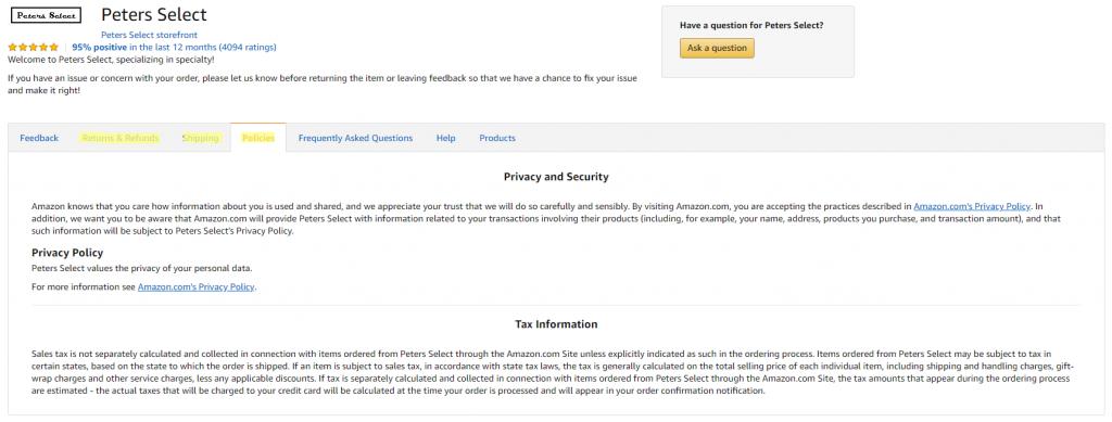 Amazon Store Info