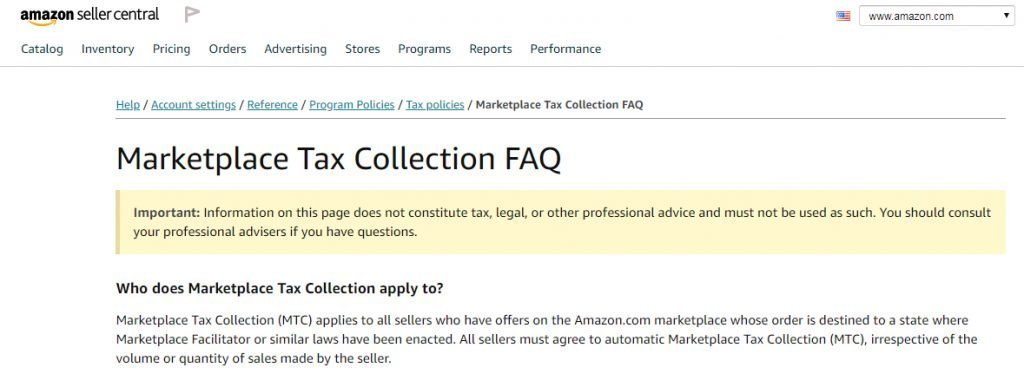Marketplace Tax Collection